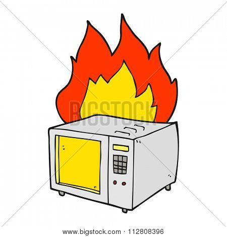 freehand drawn cartoon microwave on fire