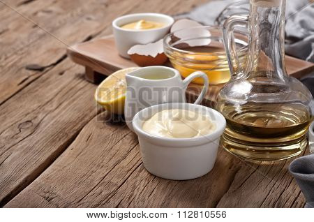 Homemade The Mayonnaise With Products For Making Mayonnaise