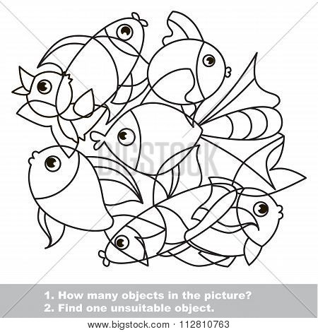 Fish Mishmash Set In Vector.