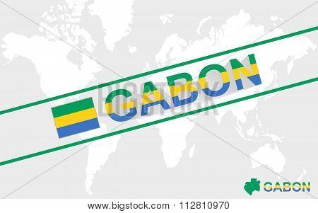 Gabon Map Flag And Text Illustration