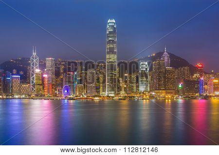 Hong Kong cityscape waterfront over Victoria harbor