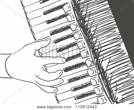 Playing Accordion Illustration
