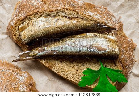 Piece Of Bread With Smoked Sardines