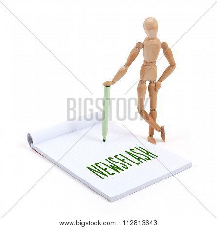 Wooden Mannequin Writing - Newsflash