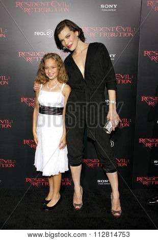 Milla Jovovich and Aryana Engineer at the Los Angeles premiere of