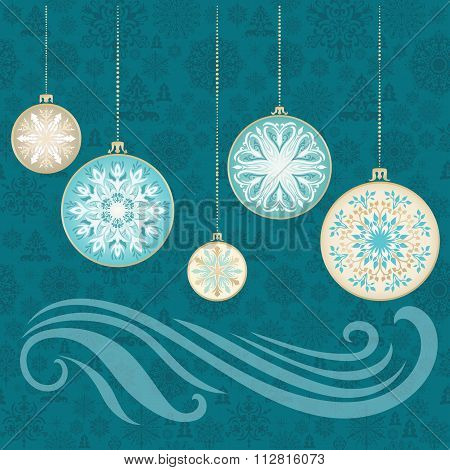 Vector New Year Snowflake Card