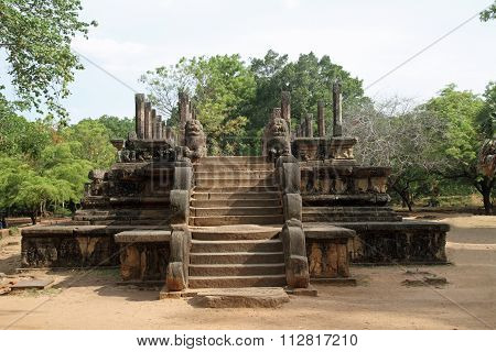 Ruins of Council Chamber in Polonnaruwa Sri Lanka