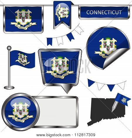 Glossy Icons With Flag Of State Connecticut