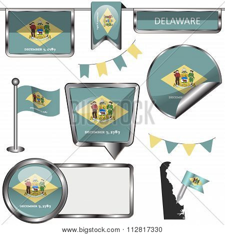 Glossy Icons With Flag Of State Delaware