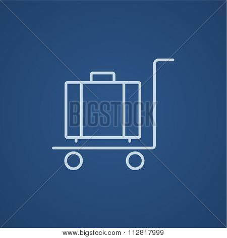 Luggage on a trolley line icon for web, mobile and infographics. Vector light blue icon isolated on blue background.