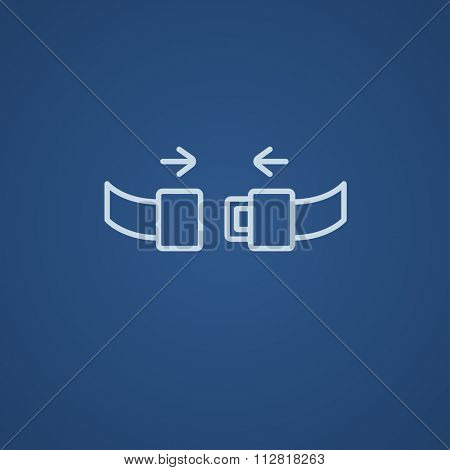 Seat belt line icon for web, mobile and infographics. Vector light blue icon isolated on blue background.
