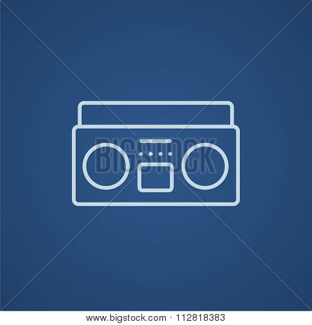 Radio cassette player line icon for web, mobile and infographics. Vector light blue icon isolated on blue background.