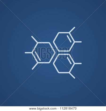 Chemical formula line icon for web, mobile and infographics. Vector light blue icon isolated on blue background.