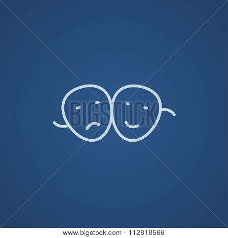 Two theatrical masks line icon for web, mobile and infographics. Vector light blue icon isolated on blue background.