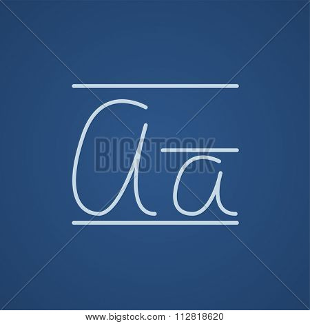 Cursive letter a line icon for web, mobile and infographics. Vector light blue icon isolated on blue background.