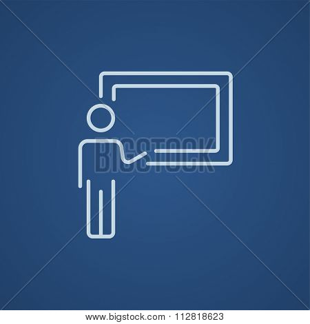 Professor pointing at blackboard line icon for web, mobile and infographics. Vector light blue icon isolated on blue background.