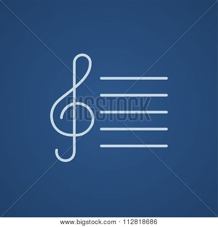 Treble clef line icon for web, mobile and infographics. Vector light blue icon isolated on blue background.