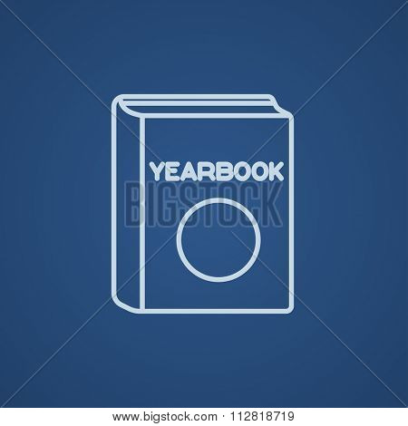 Yearbook line icon for web, mobile and infographics. Vector light blue icon isolated on blue background.