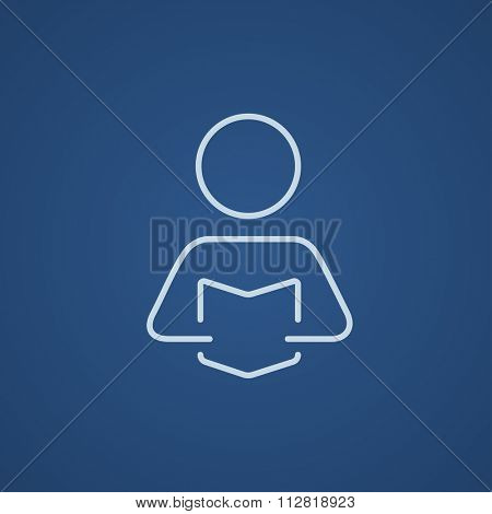 Man reading a book line icon for web, mobile and infographics. Vector light blue icon isolated on blue background.