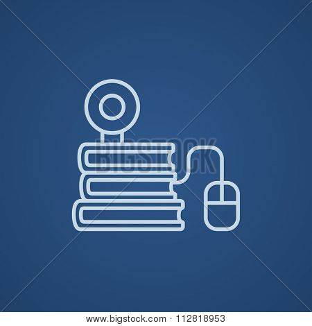 Computer mouse connected to a stack of books with webcam on it line icon for web, mobile and infographics. Vector light blue icon isolated on blue background.