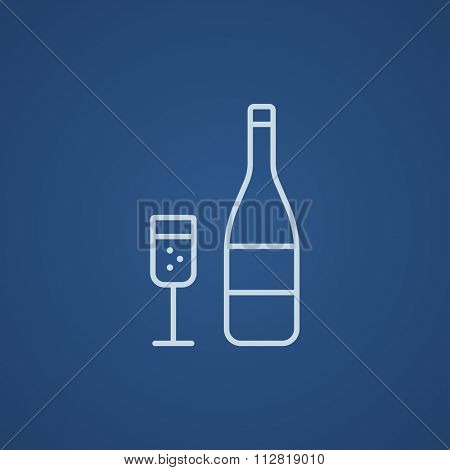Bottle of champaign and glass line icon for web, mobile and infographics. Vector light blue icon isolated on blue background.
