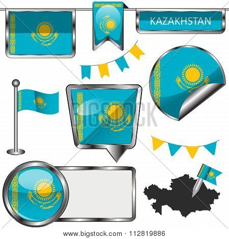 Glossy Icons With Flag Of Kazakhstan