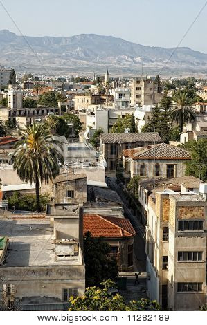 Top View Of Old Town Of Nicosia.
