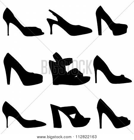 Silhouettes Of Female Shoes