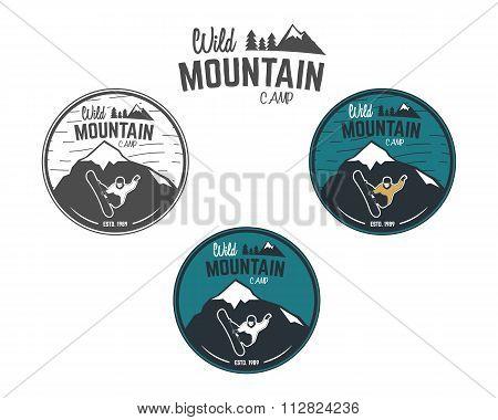 Set of Mountain winter camp vintage explorer labels. Outdoor adventure logo design. Travel hand draw