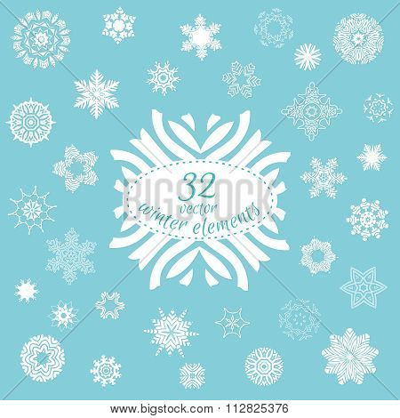 Vector Set Of 32 Winter Elements For Your Design. Snowflake And Doily Shapes For Cards, Banners