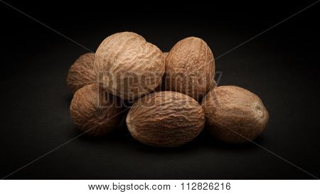 Pile of Organic Nutmeg Seed (Myristica fragrans)