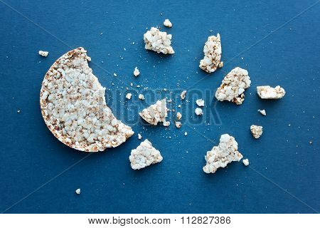 Round Wheat Bread And Crumbs