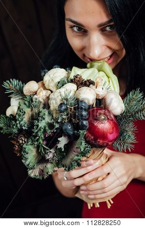 original bouquet of vegetables and fruits