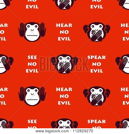 Wise monkeys. Seamless vector background.
