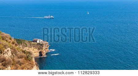 Gulf Of Naples. Panoramic Seascape With Ferry