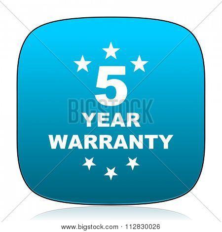 warranty guarantee 5 year blue icon