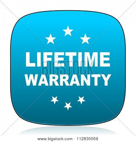 lifetime warranty blue icon