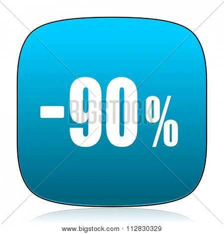 90 percent sale retail blue icon