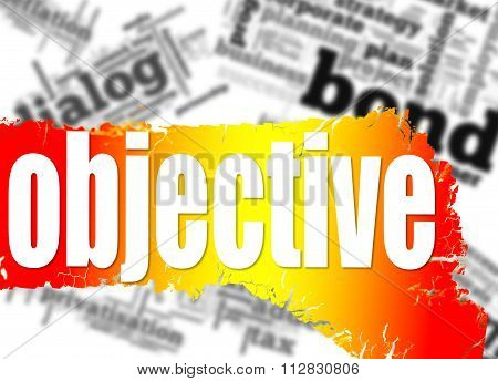 Word Cloud With Objective Word On Yellow And Red Banner