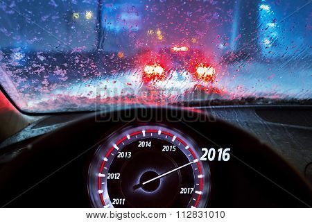 New Year 2016 in the car