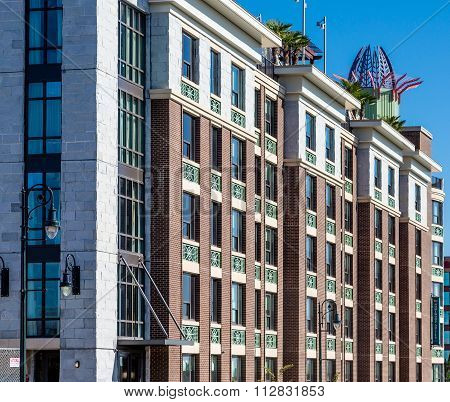 Ornate Details On Modern Brick Hotel