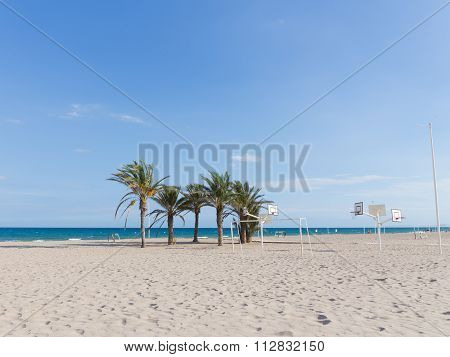 The Large Sandy Beach Of Alicante, Spain