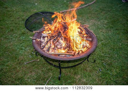 Flames on a garden fire pit