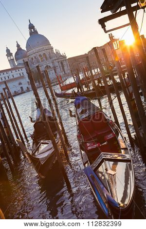 Gondolas in Grand Canal of Vienice, Italy.