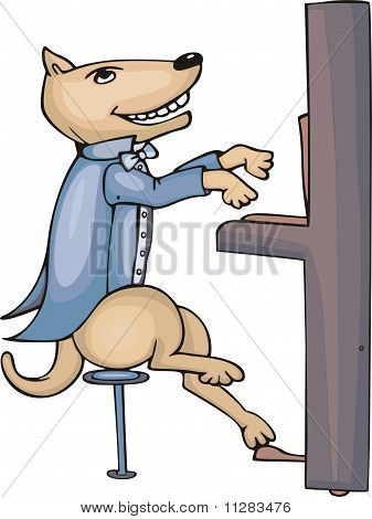 Dog Pianist Cartoon