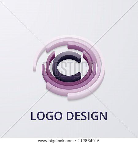 Stock Vector 3d logo letter c