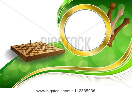 Background abstract green gold chess game brown beige board figures circle frame illustration vector