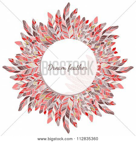 Feather Round Frame Decoration Vector