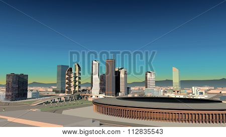 Areal Shot 3D City Rendering At Evening