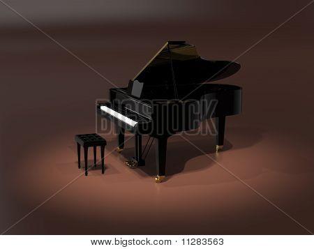 Piano de cauda no palco